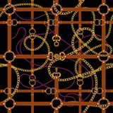 Χρυσές αλυσίδες και ζώνες Άνευ ραφής σχέδιο για τα μαντίλι, τυπωμένη ύλη, ύφασμα διανυσματική απεικόνιση