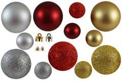 Χρυσές ασημένιες και κόκκινες σφαίρες Χριστουγέννων στοκ εικόνες με δικαίωμα ελεύθερης χρήσης