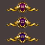 Χρυσές ασπίδες με το στεφάνι δαφνών Στοκ Φωτογραφία