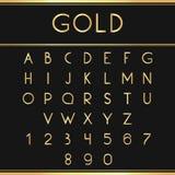 Χρυσές αλφαβητικές πηγές και αριθμοί Στοκ εικόνες με δικαίωμα ελεύθερης χρήσης