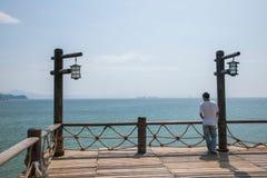 Χρυσές γέφυρες ακτών του βαλεντίνου πάρκων παραλιών της Meisha Shenzhen Στοκ Φωτογραφίες