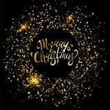 Χρυσές διακοσμήσεις Χαρούμενα Χριστούγεννας για την αφίσα, τη ευχετήρια κάρτα, την πρόσκληση κομμάτων, το έμβλημα ή το ιπτάμενο σ Στοκ φωτογραφίες με δικαίωμα ελεύθερης χρήσης