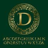 Χρυσές επιστολές Tendrils με το αρχικό μονόγραμμα Δ Μπαρόκ πηγή Στοκ εικόνες με δικαίωμα ελεύθερης χρήσης