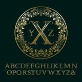 Χρυσές επιστολές Tendrils με το μονόγραμμα αρχικών Στοκ Εικόνες