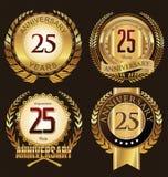 Χρυσές ετικέτες επετείου 25 έτη στοκ φωτογραφίες με δικαίωμα ελεύθερης χρήσης