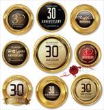 Χρυσές ετικέτες επετείου 30 έτη Στοκ εικόνα με δικαίωμα ελεύθερης χρήσης