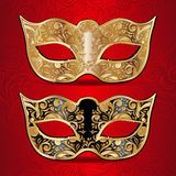 Χρυσές και μαύρες μάσκες για τη μεταμφίεση Στοκ φωτογραφία με δικαίωμα ελεύθερης χρήσης
