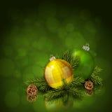 Χρυσές και πράσινες σφαίρες Χριστουγέννων απεικόνιση αποθεμάτων