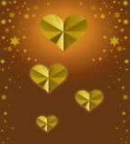χρυσές καρδιές ανασκόπησης Στοκ Εικόνα