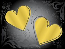 χρυσές καρδιές διανυσματική απεικόνιση