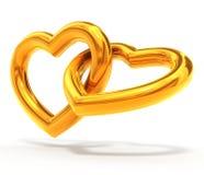 χρυσές καρδιές Στοκ Εικόνες