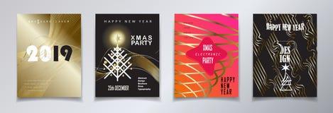 2019 χρυσές ΚΑΡΤΕΣ διακοσμήσεων πολυτέλειας γεγονότος Χριστουγέννων καλής χρονιάς χειμερινών διακοπών καθορισμένες διανυσματική απεικόνιση