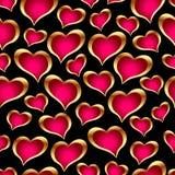 χρυσές καρδιές άνευ ραφής Στοκ φωτογραφία με δικαίωμα ελεύθερης χρήσης