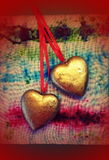χρυσές καρδιές δύο Στοκ Εικόνα