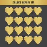 Χρυσές καρδιές Grunge καθορισμένες αφηρημένο διάνυσμα απεικό&nu Στοκ Εικόνες