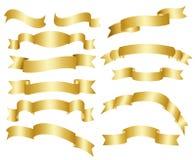 χρυσές κορδέλλες συλ&lambda Στοκ Εικόνα