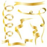 Χρυσές κορδέλλες καθορισμένες - διάνυσμα ελεύθερη απεικόνιση δικαιώματος