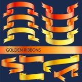 χρυσές κορδέλλες Στοκ Εικόνες