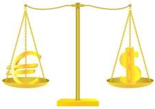Χρυσές κλίμακες με τα σημάδια ευρώ και δολαρίων Απεικόνιση αποθεμάτων