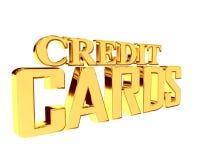 Χρυσές πιστωτικές κάρτες κειμένων στο άσπρο υπόβαθρο ελεύθερη απεικόνιση δικαιώματος
