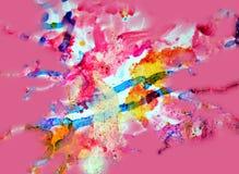 Χρυσές ρόδινες μορφές κρητιδογραφιών χρωμάτων, αφηρημένα χρώματα κρητιδογραφιών Στοκ Φωτογραφία