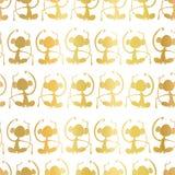 Χρυσές σκιαγραφίες πιθήκων φύλλων αλουμινίου στο άσπρο άνευ ραφής υπόβαθρο σχεδίων Πίθηκοι Meditating Μεγάλος για την αγορά παιδι ελεύθερη απεικόνιση δικαιώματος