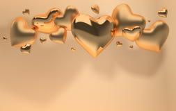 Χρυσές στιλπνές και ματ λαμπρές καρδιές στο μπεζ πνεύμα υποβάθρου κρητιδογραφιών απεικόνιση αποθεμάτων