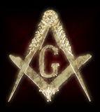 Χρυσές τετράγωνο & πυξίδα μεταλλίων Freemasonry Στοκ Εικόνα