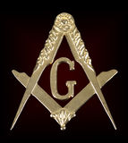 Χρυσές τετράγωνο & πυξίδα μεταλλίων Freemasonry Στοκ φωτογραφία με δικαίωμα ελεύθερης χρήσης