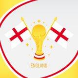 Χρυσές τρόπαιο/φλυτζάνι και σημαία ποδοσφαίρου της Αγγλίας ελεύθερη απεικόνιση δικαιώματος