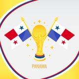 Χρυσές τρόπαιο/φλυτζάνι και σημαία ποδοσφαίρου του Παναμά ελεύθερη απεικόνιση δικαιώματος