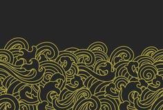 Χρυσή άνευ ραφής ταπετσαρία κυμάτων νερού - ασιατικές μορφές - διάνυσμα διανυσματική απεικόνιση