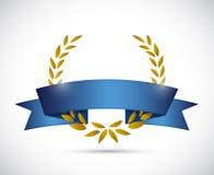 Χρυσή δάφνη και μπλε κορδέλλα. σχέδιο απεικόνισης ελεύθερη απεικόνιση δικαιώματος