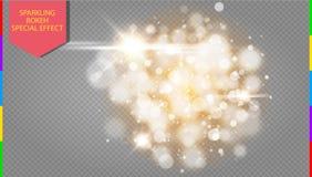 Χρυσή έκρηξη ελαφριάς επίδρασης bokeh με το σύγχρονο σχέδιο σπινθήρων Στοκ φωτογραφία με δικαίωμα ελεύθερης χρήσης