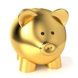 Χρυσή έννοια αποταμίευσης τράπεζας Piggy Στοκ φωτογραφία με δικαίωμα ελεύθερης χρήσης