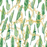 Χρυσή αλυσίδα σχεδίων Watercolor άνευ ραφής και τροπικά φύλλα, ζωηρόχρωμη εξωτική θερινή τυπωμένη ύλη διανυσματική απεικόνιση