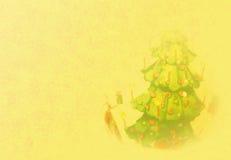 Χρυσή ανασκόπηση Χριστουγέννων με το δέντρο Στοκ εικόνα με δικαίωμα ελεύθερης χρήσης