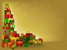 Χρυσή ανασκόπηση δώρων Χριστουγέννων Στοκ Φωτογραφία