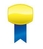 Χρυσή απεικόνιση μενταγιόν Μπλε κορδέλλα Στοκ Εικόνες
