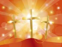 Χρυσή απεικόνιση σταυρών Μεγάλων Παρασκευών Πάσχας Στοκ Φωτογραφίες