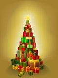 Χρυσή απεικόνιση δέντρων χριστουγεννιάτικου δώρου Στοκ Φωτογραφίες