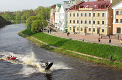 χρυσή αποβάθρα του Pskov Στοκ Φωτογραφίες