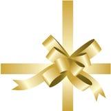 χρυσή απομονωμένη κορδέλ&lambd Στοκ Εικόνες