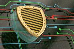 Χρυσή ασπίδα έννοιας ασφάλειας Διαδικτύου στο ψηφιακό υπόβαθρο 3 ελεύθερη απεικόνιση δικαιώματος