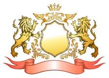 χρυσή ασπίδα λιονταριών δ&iota απεικόνιση αποθεμάτων