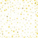 Χρυσή αστεριών κομφετί αφηρημένη πλάτη σχεδίων διασποράς λαμπρή άνευ ραφής διανυσματική απεικόνιση