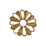 Χρυσή αφηρημένη απεικόνιση λουλουδιών Το χέρι χρωμάτισε το floral στοιχείο στο άσπρο υπόβαθρο Στοκ εικόνες με δικαίωμα ελεύθερης χρήσης