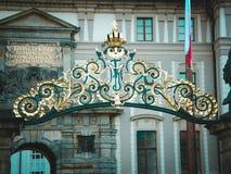 Χρυσή αψίδα του Κάστρου της Πράγας Στοκ Εικόνες