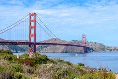 Χρυσή γέφυρα πυλών στο σαφή μπλε ουρανό με τη φύση στο πρώτο πλάνο στοκ εικόνα με δικαίωμα ελεύθερης χρήσης