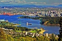 Χρυσή γέφυρα πυλών στο Βανκούβερ Στοκ Εικόνα
